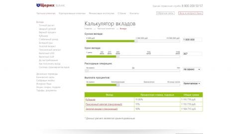 Разработка рекламной концепции банка Церих. Дизайн, программирование и поддержка сайта банка.